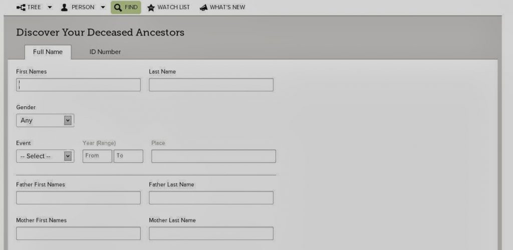 Searching FamilySearch org - Trace com