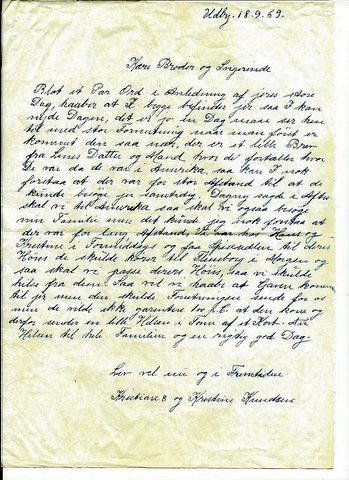 Letter of Danish ancestor