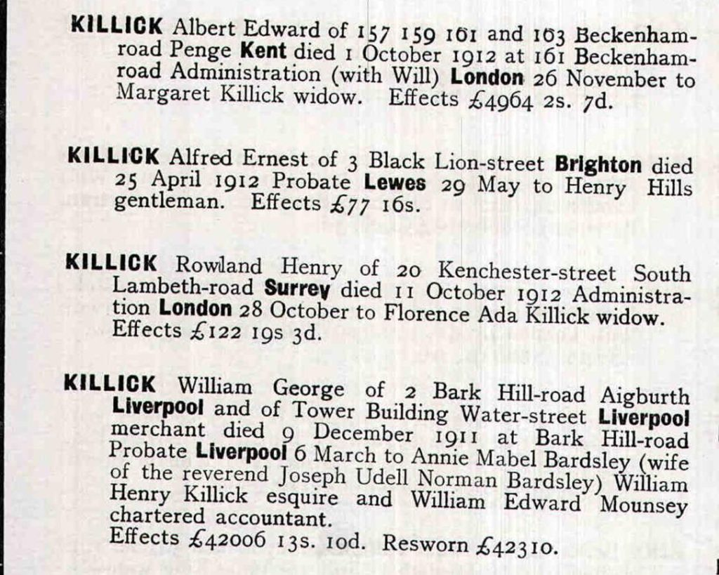 Probate Calendar for 1912, Wills and Probate in England and Wales